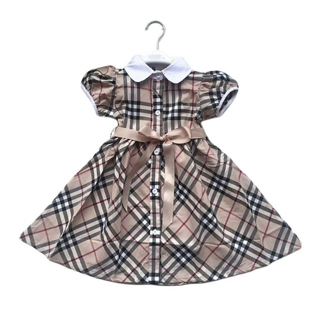 Baby Girls Casual Dress Khaki Plaid Petter Pan Collar Puff Sleeve Shirt Dresses 2016 New European Style For 3-7 Years GD69
