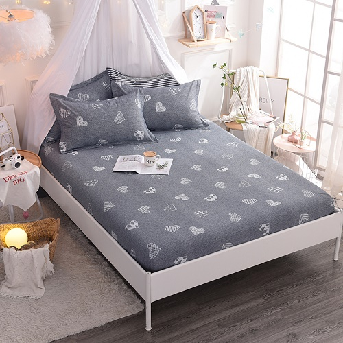 (New On Product) 1pcs 100% Cotton Printing bed mattress set with four corners and elastic band sheets(pillowcases need order) 12