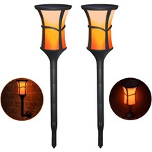 Binval Solar Powered 99LED Flame Lamp Waterproof Lawn Flickering Torch Light Outdoor LED Fire Lights Garden Decor