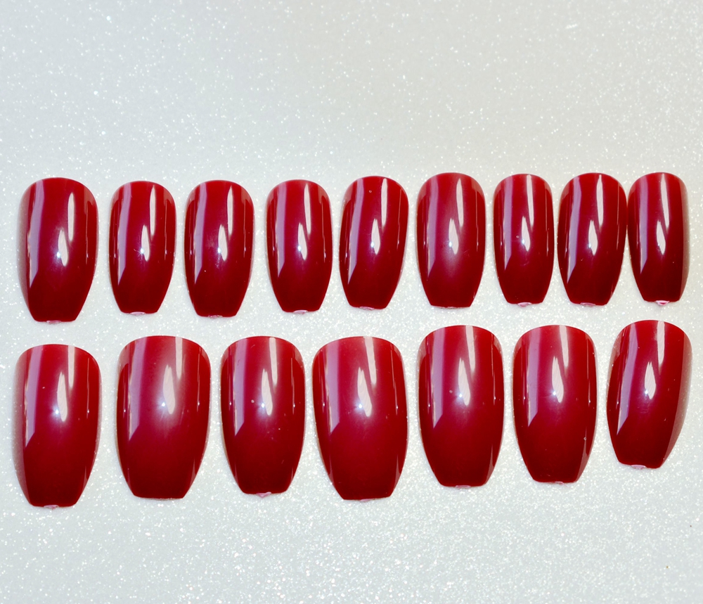 Plana uñas stiletto color rojo vino ataúd arte diseño falso Clavos ...