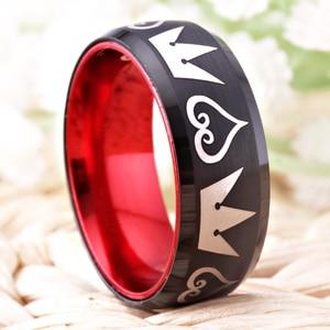 Image 2 - גברים של קלאסי שחור טונגסטן אדום אלומיניום טבעת נשים אירוסין נישואים זכר תכשיטי ממלכת לבבות תכשיטי מתנה anillos