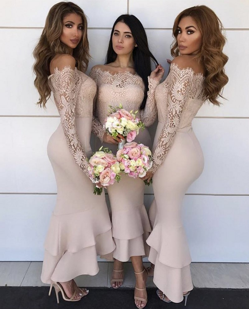 Champagne Color Boat Neck Long Sleeve Lace Satin Ankle-Length Mermaid Bridesmaid Gown Sexy Lace Bridesmaid Dresses Fast Shipping