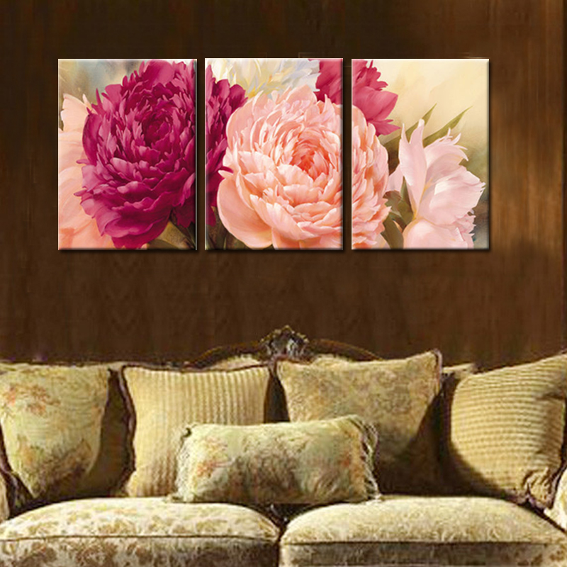 3 panel pictures canvas painting peony flower painting wall art decorative canvas wall art modular picture - Cheap Canvas Wall Art