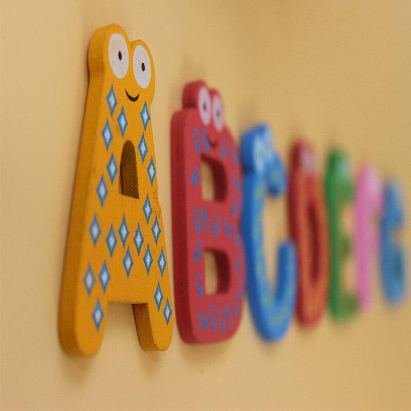Деревянные буквы магнит на холодильник Наклейки мультфильм 26 шт. Английский алфавит игрушки, детские развивающие Игрушечные лошадки ранне...