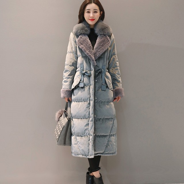 New Price  2019 wadded jacket female new winter jacket women down cotton jacket long parkas velvet ladies winter coat fur  women