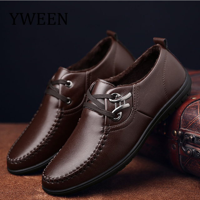 YWEEN New Men's Leather Casual Shoes Men Office leisure shoes British men's shoes