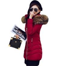 Горячая! 2016 Мода Новый Толщиной С Капюшоном Длинное Пальто Тонкий Женщин Вниз Parka JacketWarm Осень Зима Куртка Женщин Плюс размер Пальто