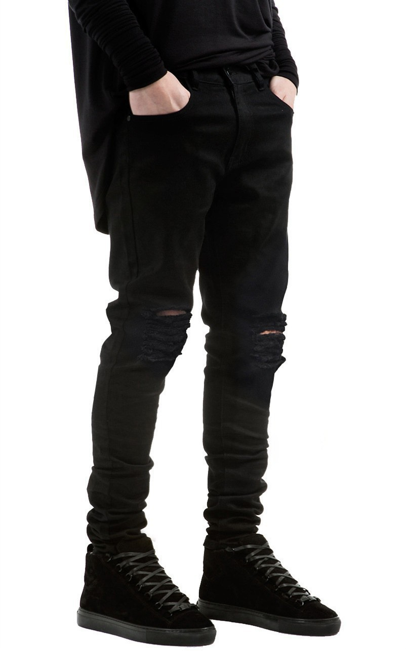 2016 New Black Ripped Jeans Men With Holes Super Skinny Famous Designer Brand Slim Fit Destroyed