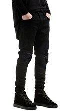 2016 Новый Черный Рваные Джинсы С Отверстиями Супер Узкие известный Дизайнер Бренда Slim Fit Разрушенные Torn Жан Брюки Для мужской