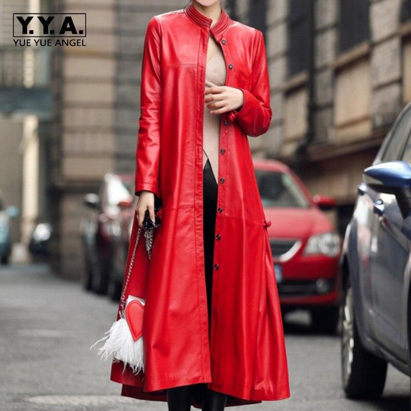 High Quality New 2019 Vogue Long Pu   Leather   Overcoat Jaqueta Couro Feminina Euro Fashion Black Streetwear Casaco Women Plus Size
