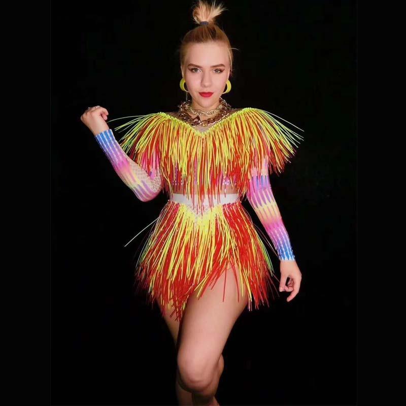 2020 Colorful Fringes Rhinestones Bodysuit Women Stage Dance Costume Nightclub Dance Female Singer Show Bright Leotard Dj Dance