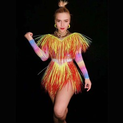 2020 Kleurrijke Franjes Steentjes Bodysuit Vrouwen Stage Dance Kostuum Nachtclub Dans Zangeres Tonen Heldere Turnpakje Dj Dance