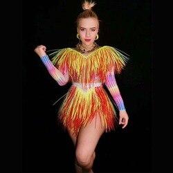 2020 bunte Fransen Strass Body Frauen Bühne Dance Kostüm Nachtclub Dance Sängerin Zeigen Helle Trikot dj dance