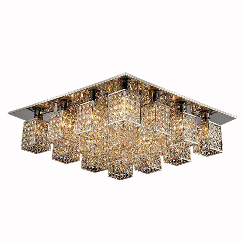 Modern Square Crystal Cube Bedroom Ceiling Lamp Luxury Living Room Ceiling Lights Dining Room Bar Counter Balcony Ceiling Light 9 free shipping bedroom pleated clear glass ceiling light new modern bar counter fashion hallway gallery ceiling lamp