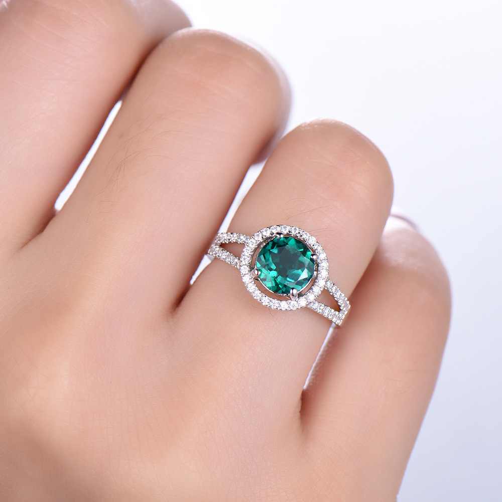 Lab Green Emerald Engagement Ring Solid 14k White Rose yellow Gold ...