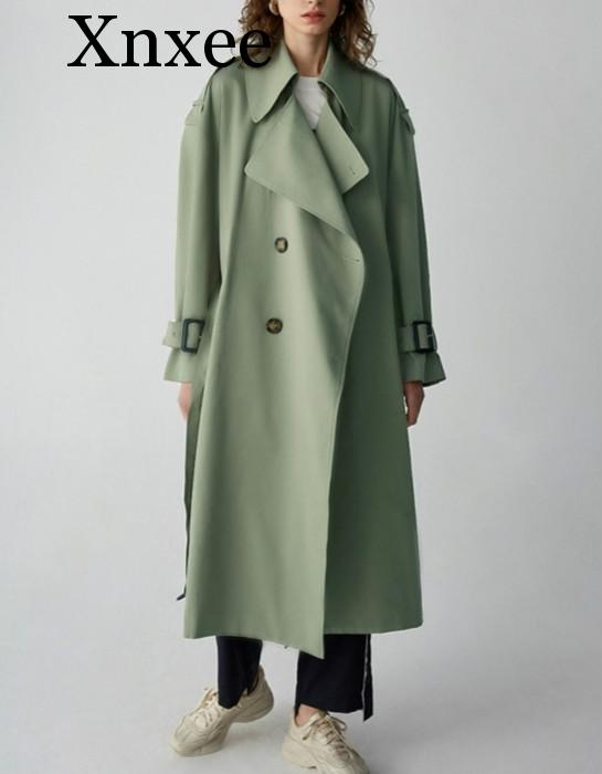 Xnxee New Arrival 2019 green oversize long belted notched collar women   trench   coat