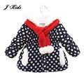 Novo 1-4 T do bebê meninas casacos de inverno de moda de algodão quente casaco moletom com capuz outerwear polka dot bebê do estilo da criança com cachecol com capuz