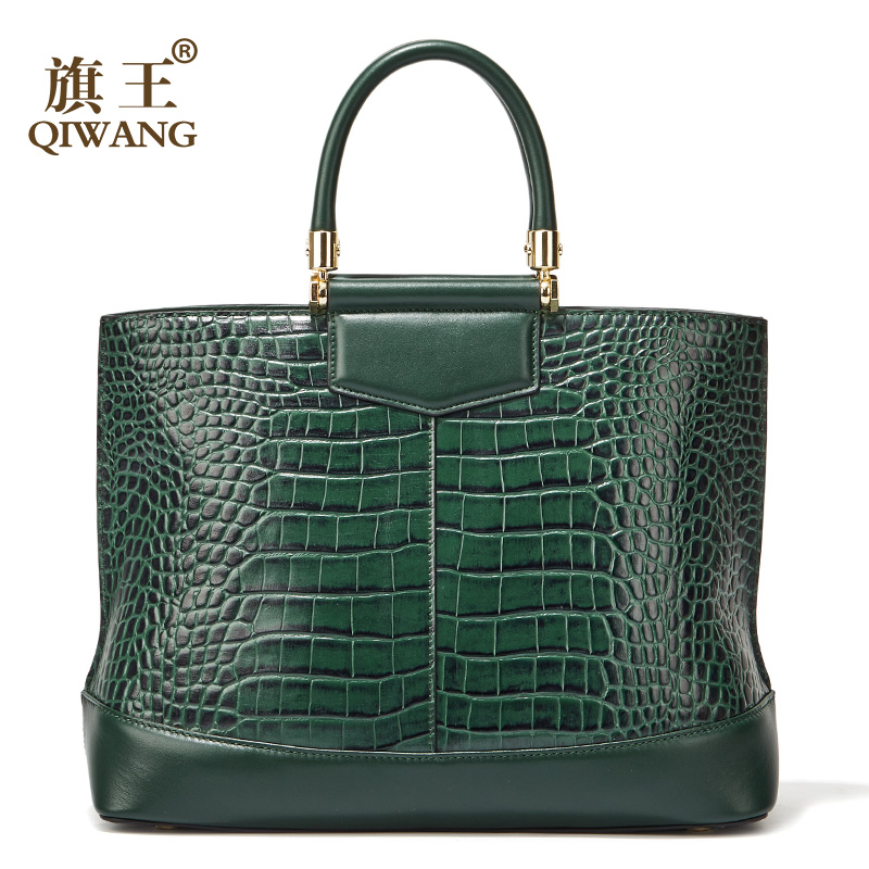 Qiwang Green Large Tote Bags Fashion European Brand Designer Real Leather Women Handbags Roomy Big Bags Laptop Purse Bags-in Top-Handle Bags from Luggage & Bags    1