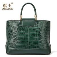 Qiwang Green Large Tote Bags Fashion European Brand Designer Real Leather Women Handbags Roomy Big Bags Laptop Purse Bags