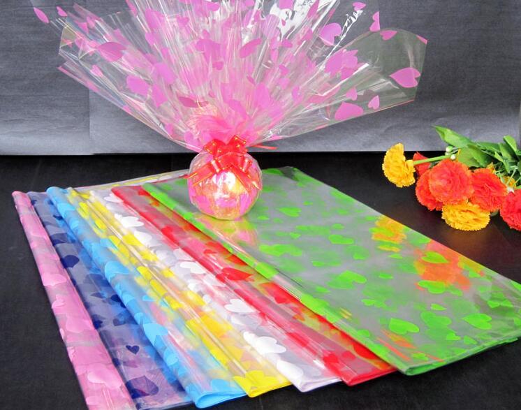 Free Shipping 50pcs Print Cellophane Plastic Paper Flower