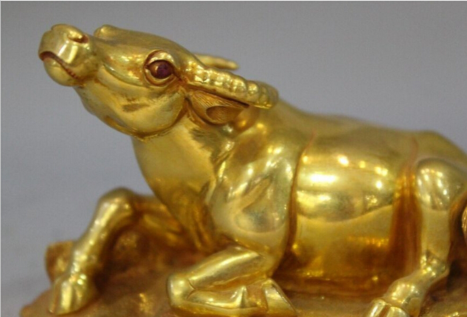 Brass Art Crocodile Amulet Miniature Magic Statue Lucky Happy Wealth Powerful