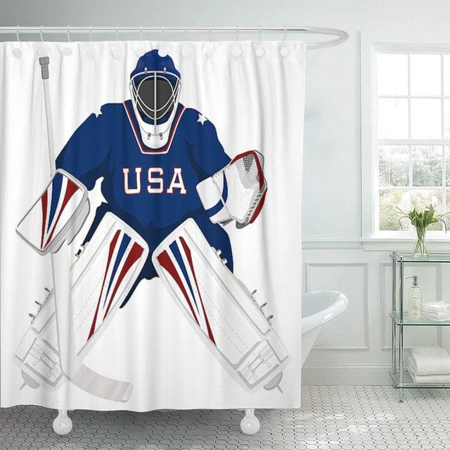 Shower Curtain With Hooks Ice Team Usa Hockey Goalie Jersey Sport