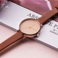 Shengke для женщин часы Элитный бренд наручные часы кожа модные женские Женева кварцевые наручные часы Feminino Новый SK