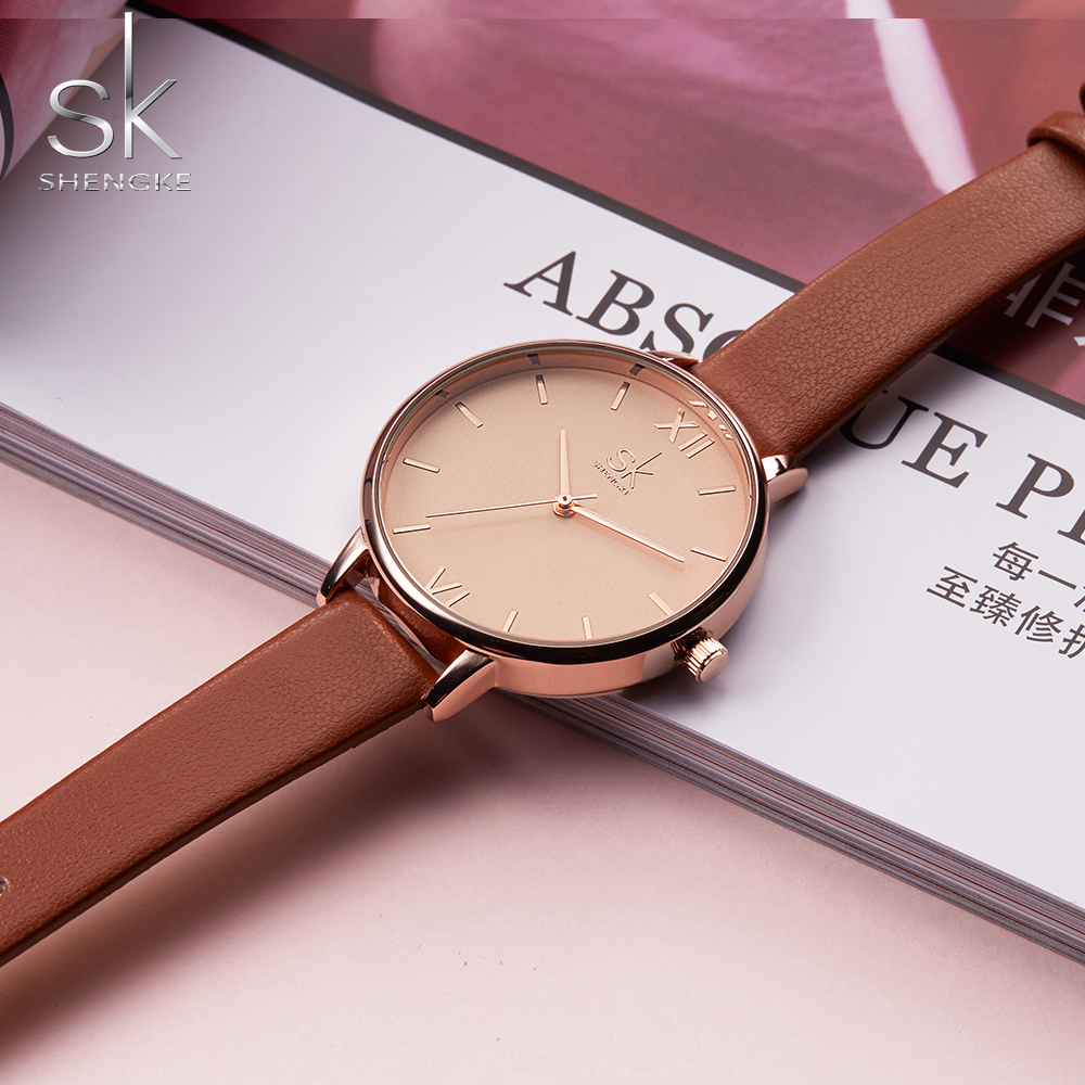 Shengke Women Watches Luxury Brand Wristwatch Leather Women Watch Fashion Ladies Geneva Quartz Clock Relogio Feminino New SK shengke luxury watches women rhinestone bracelet watches ladies quartz wristwatch relogio feminino 2018 female clock k0011