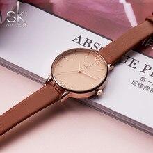 Shengke relógios femininos marca de luxo relógio de pulso de couro das senhoras da moda genebra relógio de quartzo relogio feminino novo sk