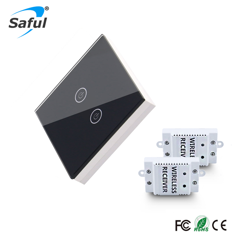 Saful Smart Home 2 gang Wireless Light Switch 433Mhz Remote Switch,US/AU/EU Standard Black Crystal Glass Touch Wall Switch 220v 5pcc lot kerui s71 wireless eu us uk au standard smart switch socket 433mhz for home security alarm system