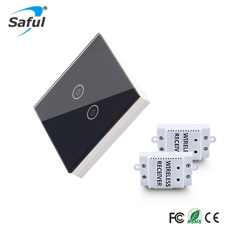 Sans fil De Luxe Interrupteur Mural 2 Gang 2 Way Bouton-Poussoir lumière LED Indicateur Sans Fil Télécommande tactile Commutateur pour mur lampes