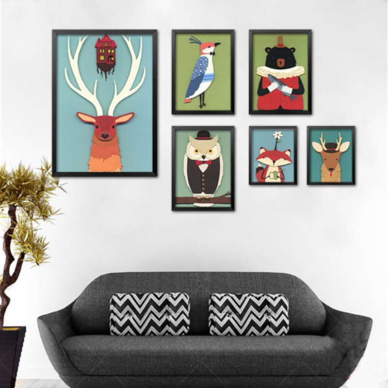 modern a variety cartoon owl animals canvas art print poster nordic wall picture home decor painting no frame kids room decor