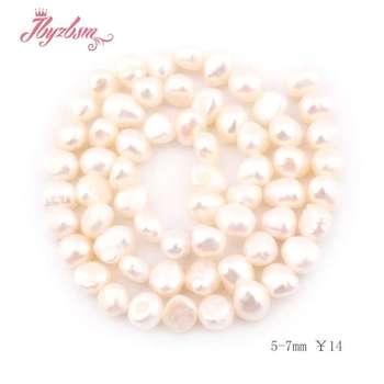e1892bf1b2df 5-7mm blanco libre de agua dulce perla cuentas de piedra Natural para DIY  collar Bracelat joyería mechón 14