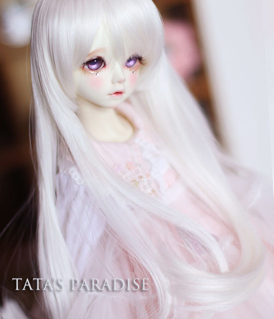 1/4  7-9 inch  BJD/DD  doll  DIY High-Temperature long hair for  girls   moonlight white