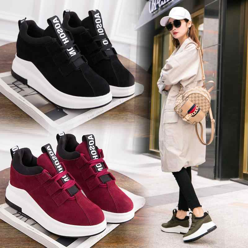 2019New Fall Winter Platform Sneakers Women Height Increasing 7 cm Chunky Shoes Woman Plus Size 35-42 Ladies Wedge Shoes