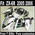 Best price Body kit for Kawasaki ZX6R fairing kits 2005 2006 plastic white black Parts 05 06 Ninja 636 fairings DS4