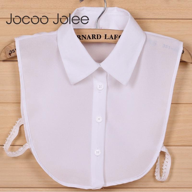 Jocoo Jolee 1PC Women Solid Shirt Cotton Lace False Collars White & Black Blouse Vintage Detachable Clothes Accessories