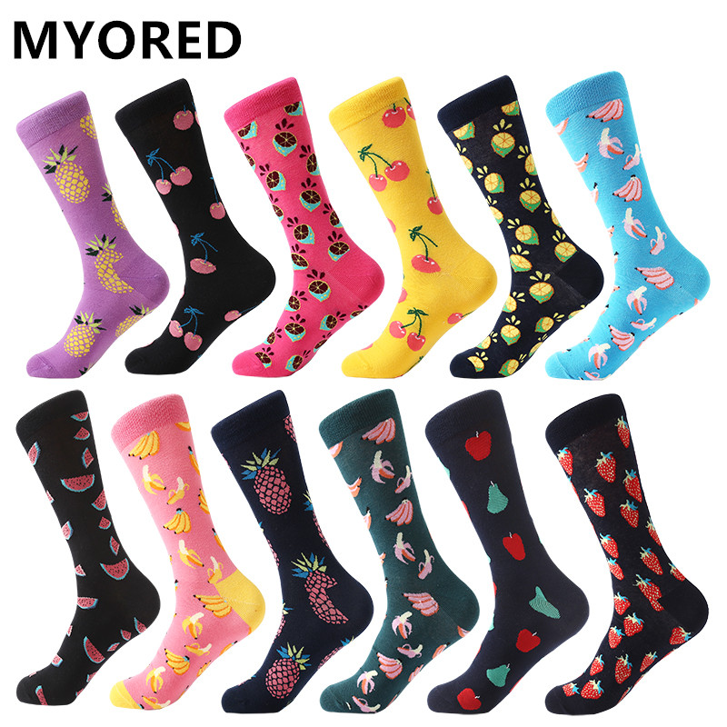 MYORED 12pairs/Lot Men's Socks Calcetines Hombre Fashion Wedding Gift Men Casual Socks For Autumn Winter Warm Christmas Gift