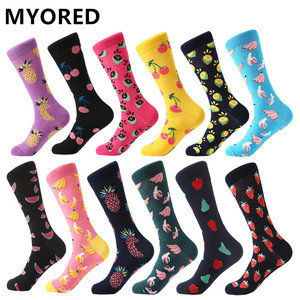 Image 1 - MYORED 12pairs/Lot Mens Socks Calcetines Hombre fashion wedding gift men casual socks for autumn winter warm christmas gift