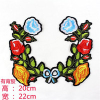 Women boy clothes embroidery cute patch deal with it 22cm flower vine iron on patches for clothing t shirt/jeans free shipping