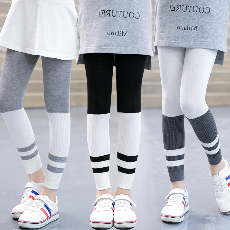 Style Autumn Women Leggings Striped Elastic Waist Child Legging Backside Trousers Leggins Youngsters Pants Child Lady Garments 3-12T