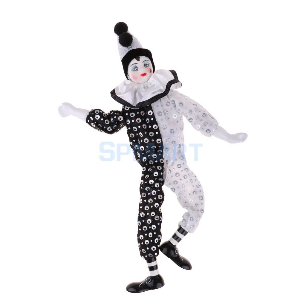 38cm 15 inch Entzückende Porzellan Hängen Fuß Clown Puppe Harlekin Puppe Circus Requisiten Festival Geschenk Home Office Ornamente