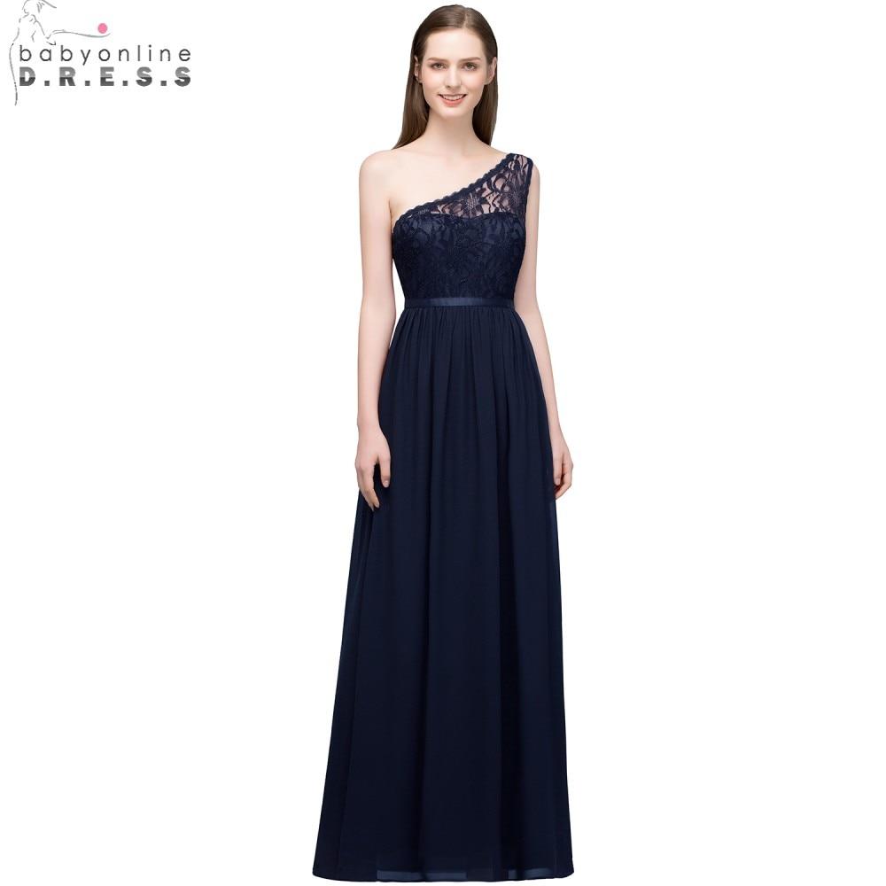 Babyonline One Shoulder Navy Blue Lace   Bridesmaid     Dresses   2018 Wedding Party   Dresses   Floor Length robe demoiselle d'honneur