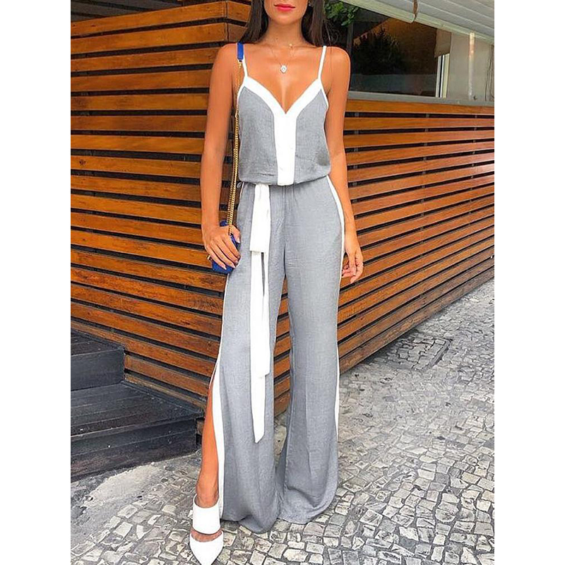 Strapless wide leg pants <font><b>jumpsuit</b></font> for women <font><b>2018</b></font> Summer <font><b>sexy</b></font> v neck grey white patchwork long <font><b>jumpsuit</b></font> Side split maxi rompers image