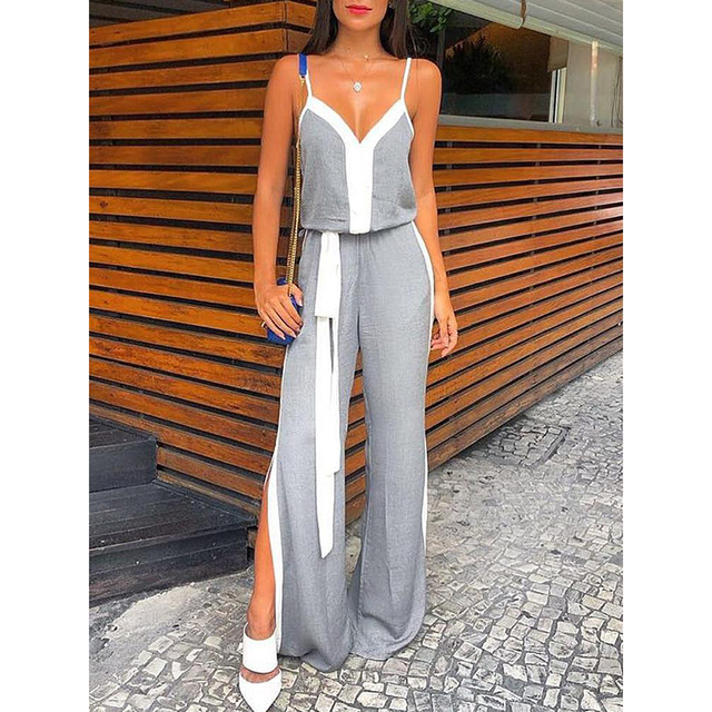 Strapless Wide Leg Pants Jumpsuit For Women 2018 Summer Sexy V Neck