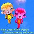 O envio gratuito de alta qualidade 3D macaco macio pipa com alça linha de brinquedos ao ar livre roda de nylon ripstop weifang pipa animais polvo nova