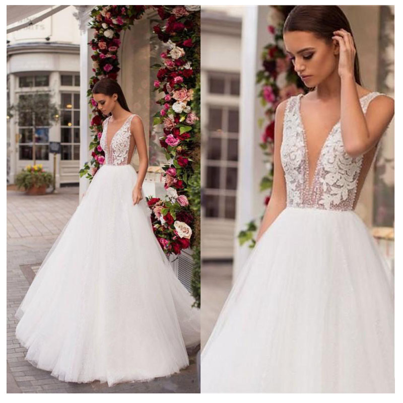 Smileven Wedding Dress 2019 Appliques Lace Bride Dresses Sexy Deep V Neck Wedding Bridal Gowns 2019 Sexy Wedding Gowns