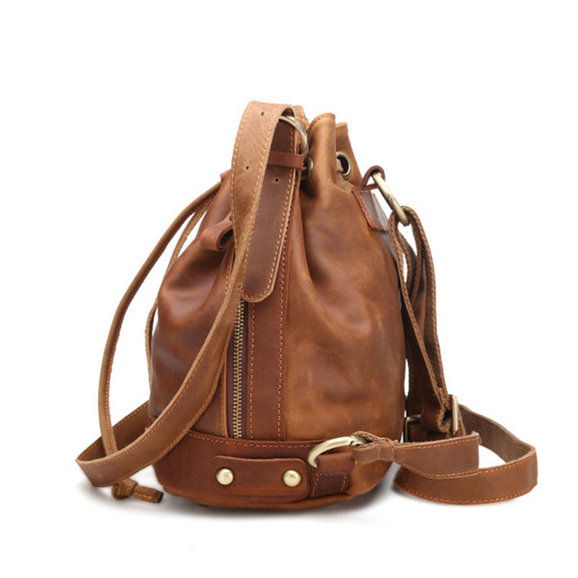 2018 New Women Leather Handbags Casual Shoulder Messenger Bag Bucket Women's Bags Retro Fashion Ladies  Large Capacity Neutral Handbags