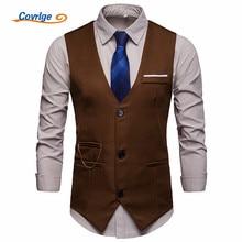 Covrlge Men Suit Vest Classic V Collar Dress Slim Fit Wedding Waistcoat Mens Formal Sleeveless Black Gilet Homme MWX040