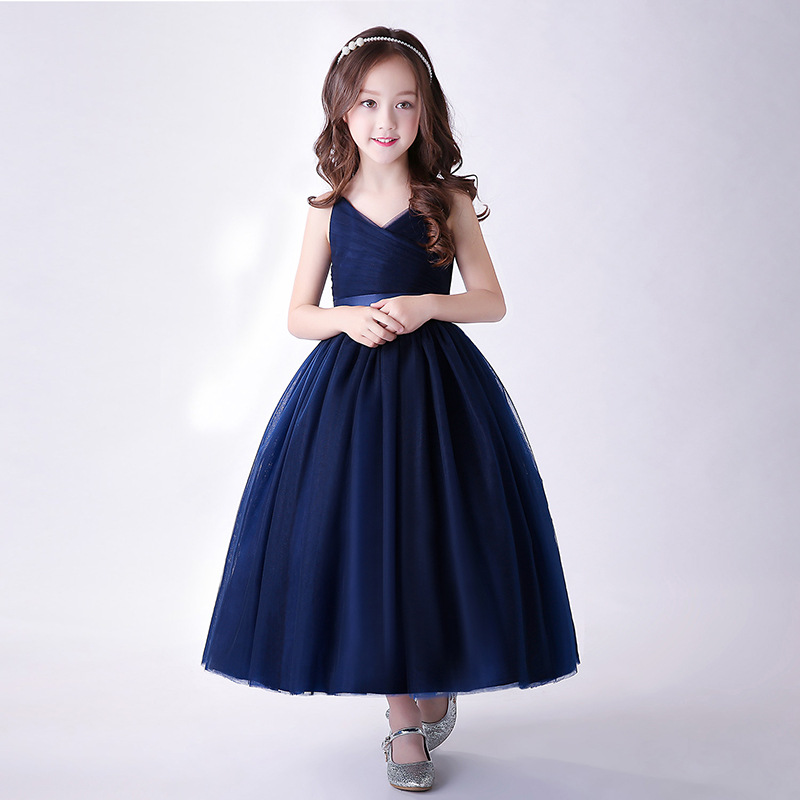 Kids Girls Dresses for Party and Wedding 2018 Little Teenage Girls Long Party Dress for Kids Maxi Dress Blue Girls Evening Gowns цена
